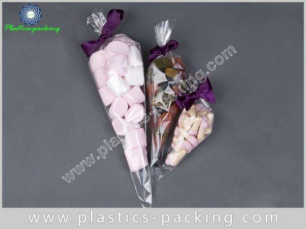 Clear Cone Shaped BOPP Confectionery Bags 150g Cone 122