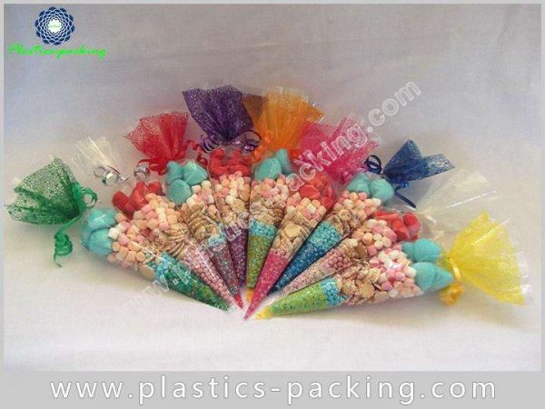 Clear Cone Shaped BOPP Confectionery Bags 150g Cone 123