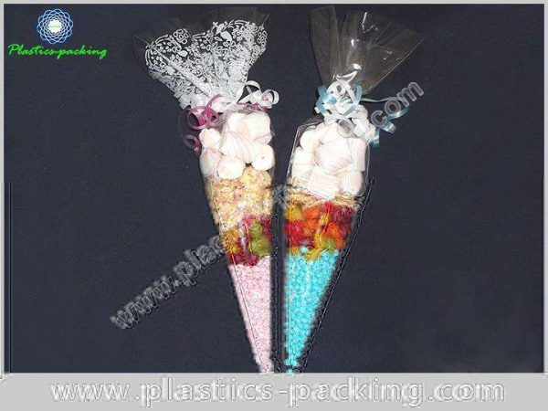 Clear Cone Shaped BOPP Confectionery Bags 150g Cone 124