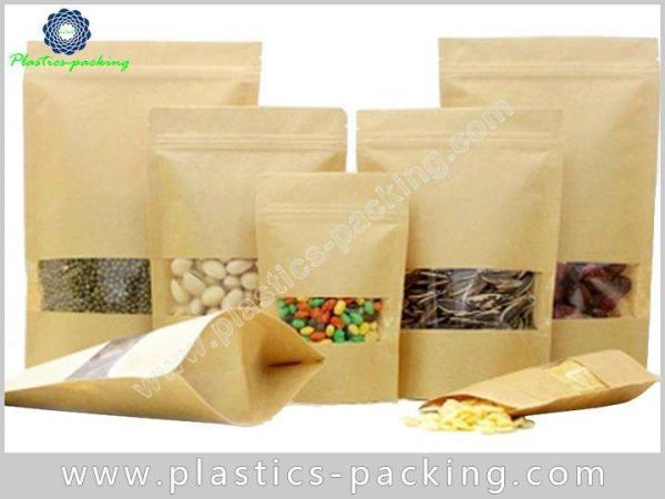 Clear Window Resealable Kraft Paper Bags 120g Kraft 215