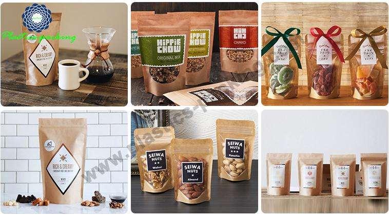 Custom Printed Stand Up Kraft Paper Coffee Bags yyt 199
