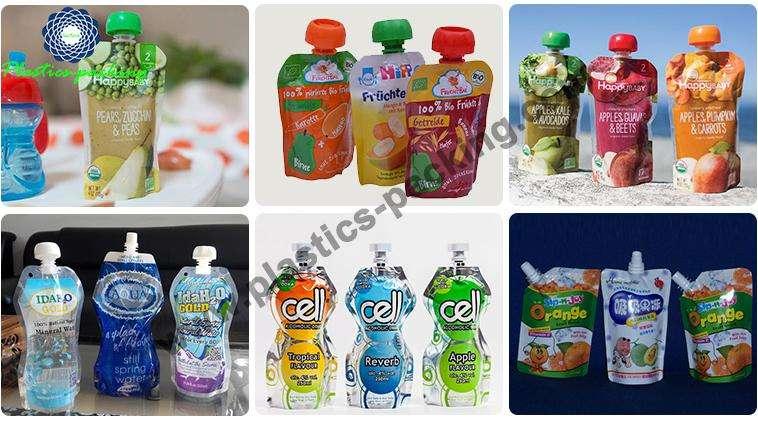 Customized Printed Stand Up Food Grade Plastic Liqu 384