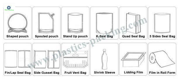 Printed Kraft Paper Zipper Bags Food Packaging Stan 055