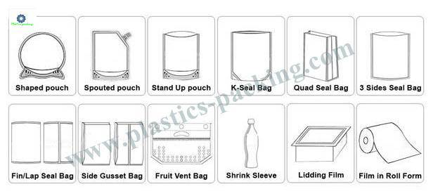 Self Standing Snack Food Plastic Ziplock Bags with 1023